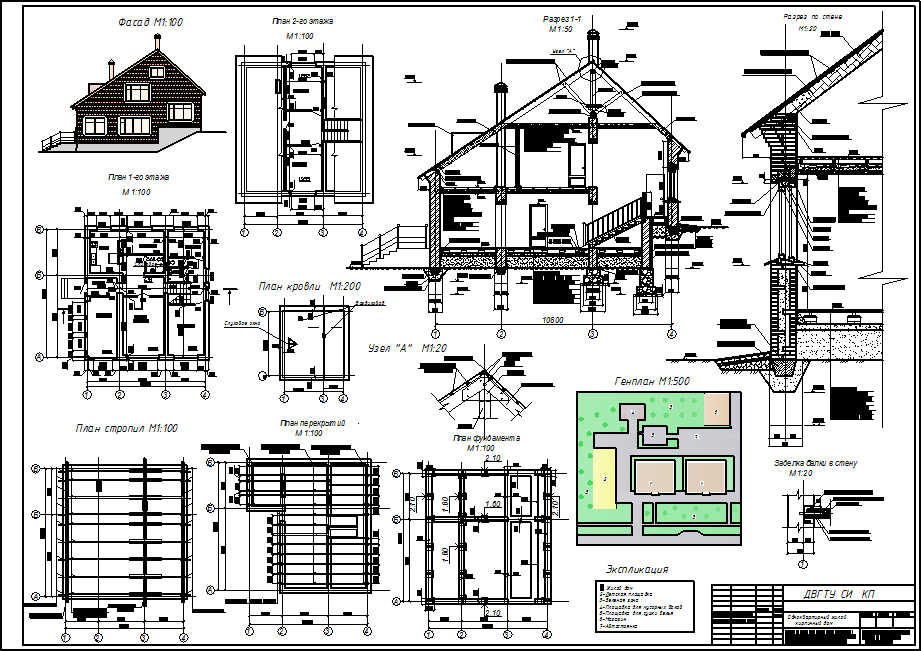 Курсовой проект по архитектуре на тему Одноквартирный жилой  чертёжи мансарды