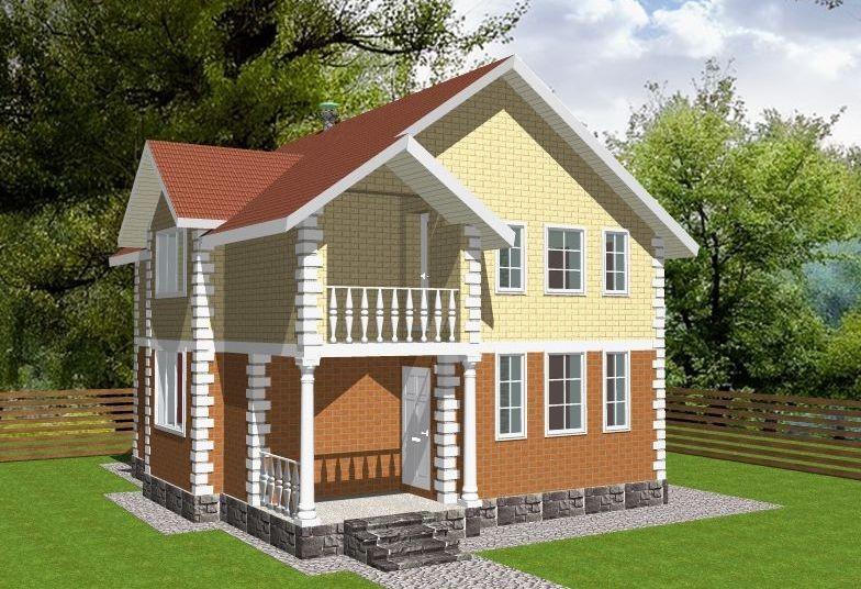 Жилой двухэтажный дом из газобетонных блоков толщиной 375 мм