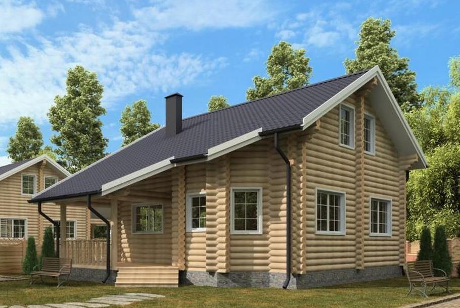 Загородный дом из оцилиндрованного бревна ∅240 мм. (Проект ЗД 9х10,9-240-2015-АС-1)