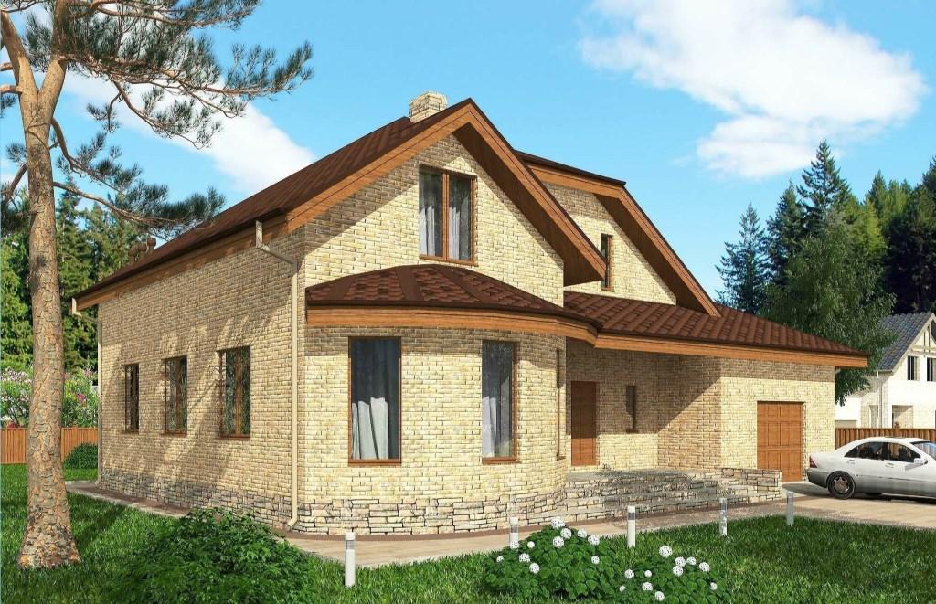 Одноэтажный дом с мансардой и гаражом. (Проект Rg5119)