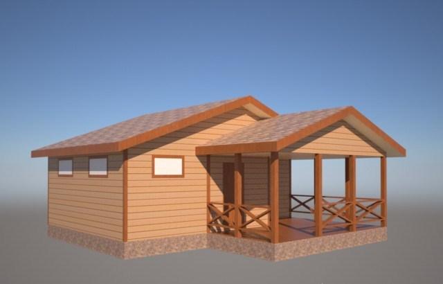 Одноэтажный каркасный дом с террасой